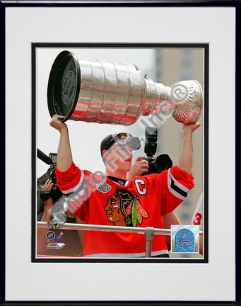 Jonathan Toews Chicago Blackhawks 2010 Stanley Cup Champions Victory Parade (#49) Double Matted 8� x 10� Photograph in Black Anodized Aluminum Frame PHF-AAML167-37