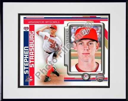 """Stephen Strasburg 2010 Studio Plus Double Matted 8"""" x 10"""" Photograph in Black Anodized Aluminum Frame"""