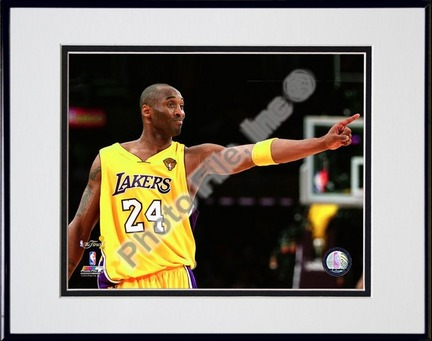 """Kobe Bryant - 2010 NBA Finals Game 6 (#16) Double Matted 8"""" x 10"""" Photograph in Black Anodized Aluminum Frame"""