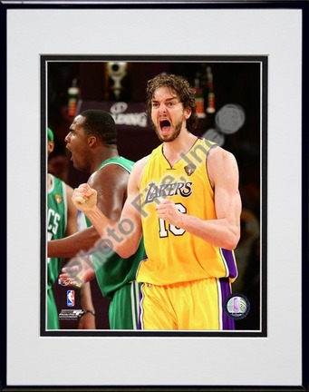 "Pau Gasol - 2010 NBA Finals Game 7 (#19) Double Matted 8"" x 10"" Photograph in Black Anodized Aluminum Frame"