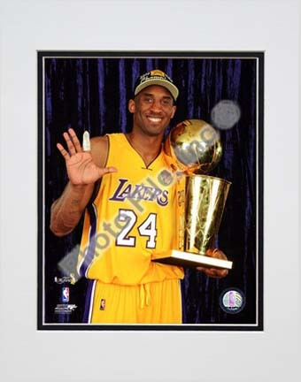 """Kobe Bryant - 2010 NBA Finals Game 7 Championship Trophy/5 Fingers in Studio (#27) Double Matted 8"""" x 10"""" Photograph"""