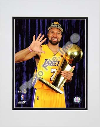 """Derek Fisher with Championship Trophy in Studio (#28) Double Matted 8"""" x 10"""" Photograph (Unframed)"""