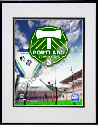 """Portland Timbers 2010 """"Team Logo"""" Double Matted 8"""" x 10"""" Photograph in Black Anodized Aluminum Frame"""