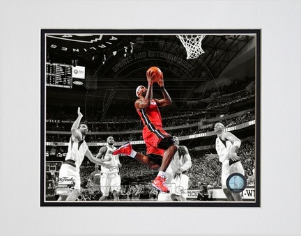 """LeBron James Miami Heat 2011 NBA Finals """"Game 3"""" Spotlight Action (#20) Double Matted 8"""" X 10"""" Photo"""