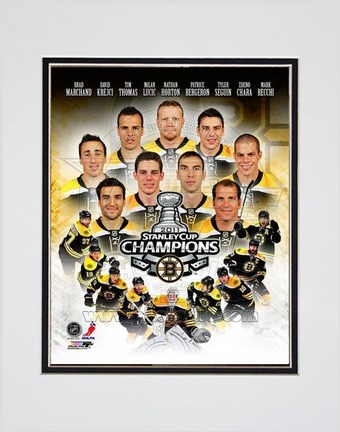"Boston Bruins 2011 NHL Stanley Cup Championship Composite Double Matted 8"""" X 10"""" Photograph (Unframed)"" PHF-AANS026-33"