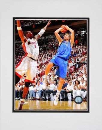 """Dirk Nowitzki Dallas Mavericks 2011 NBA Finals """"Game 6"""" Action Double Matted 8"""" X 10"""" Photograph (Un"""