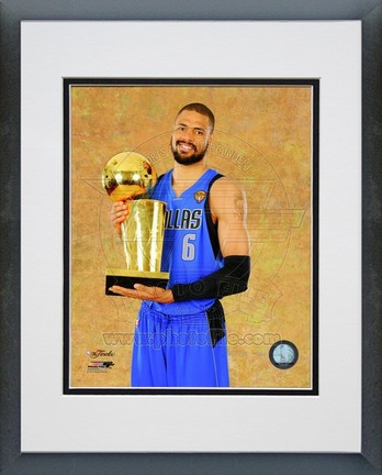 "Tyson Chandler Dallas Mavericks 2011 NBA Finals ""With Championship Trophy"" Double Matted 8"" X 10"" Ph"