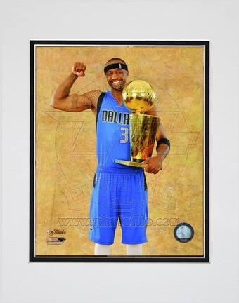 """Jason Terry Dallas Mavericks 2011 NBA Finals """"With Championship Trophy"""" Double Matted 8"""" X 10"""" Photo"""