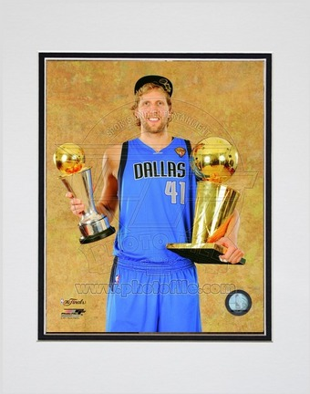 """Dirk Nowitzki Dallas Mavericks 2011 NBA Finals """"With Championship Trophy and MVP Trophy"""" Double Matted 8"""""""