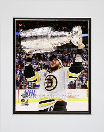 """David Krejci Boston Bruins 2011 NHL Stanley Cup Finals """"With the Stanley Cup"""" (#48) Double Matted 8"""" X 10"""