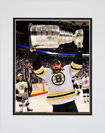 "Patrice Bergeron Boston Bruins 2011 NHL Stanley Cup Finals ""With the Stanley Cup"" (#45) Double Matted 8"""