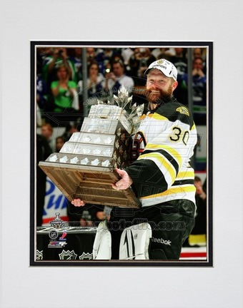 "Tim Thomas Boston Bruins 2011 NHL Stanley Cup Finals """"With the Conn Smythe Trophy"""" (#44) Double Matted 8"""" X 10"""" Photograph (Unframed)"" PHF-AANS222-33"