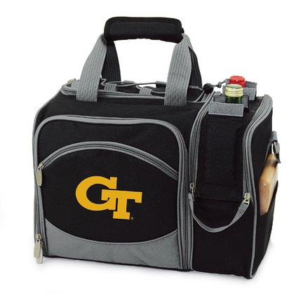 "Georgia Tech Yellow Jackets Black ""Malibu"" Insulated Picnic Tote / Shoulder Pack with Screen Printed Logo"