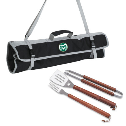 a45b40ee4b981a Colorado State Rams 3 Piece Wooden Handle BBQ Utensil Set with Tote