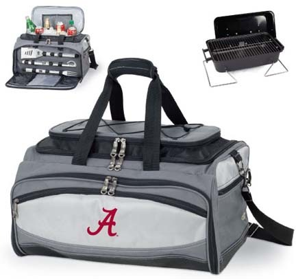 Alabama Crimson Tide Tote with Cooler, 3-Piece BBQ Set and Grill