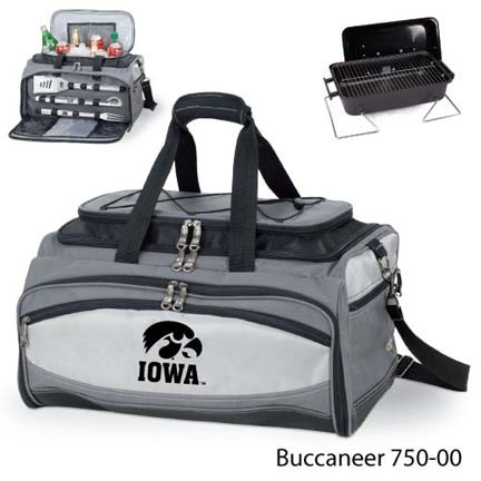 Iowa Hawkeyes Tote with Cooler, 3-Piece BBQ Set and Grill
