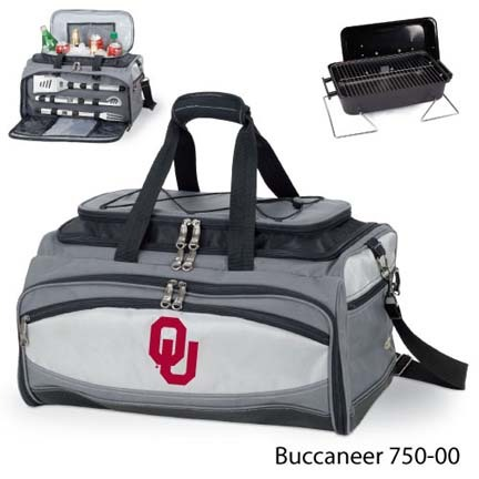 Oklahoma Sooners Tote with Cooler, 3-Piece BBQ Set and Grill