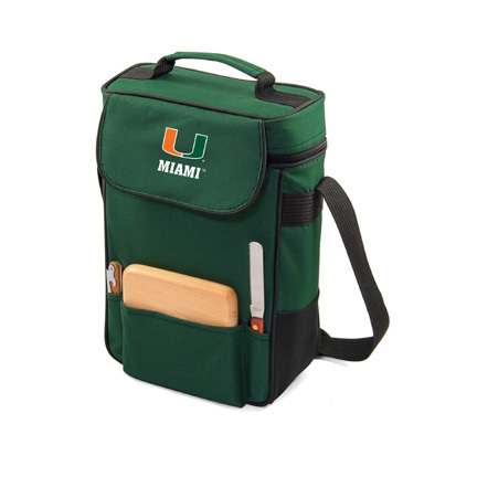 "Miami Hurricanes ""Duet"" Wine and Cheese Tote with Screen Printed Logo"