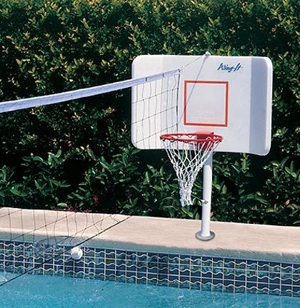 Spike and Splash Deck Mount Water Basketball / Volleyball Combo by Pool Shot