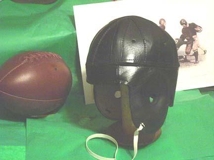 Image of 1940 Old Chicago Bears Black Leather Football Helmet
