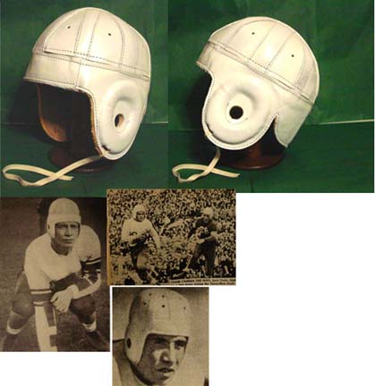 Image of 1940 Old Cleveland Rams White Leather Football Helmet