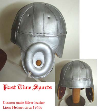 Image of 1940 Old Detroit Lions Silver Leather Football Helmet