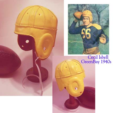 Image of 1940 Old Green Bay Packers Yellow / Gold Leather Football Helmet