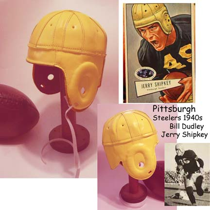 Image of 1940 Old Pittsburgh Steelers Yellow Leather Football Helmet