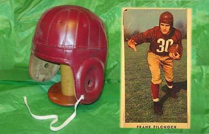 Image of 1940 Old Washington Redskins Burgundy Leather Football Helmet