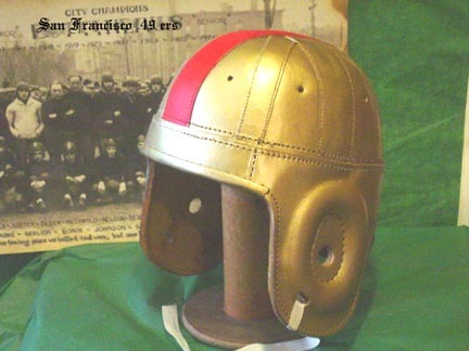 AAFC Old San Francisco 49ers Gold / Red Stripe Leather Football Helmet
