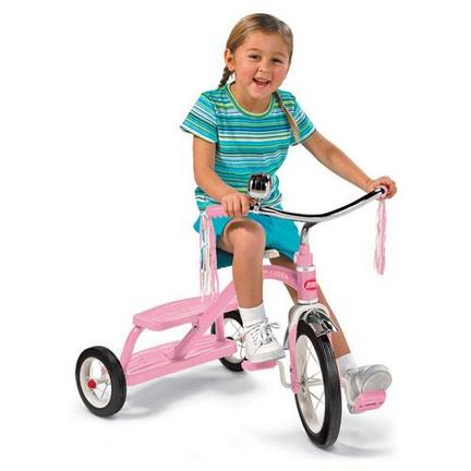 Radio Flyer Girls' Classic Pink Dual Deck Tricycle