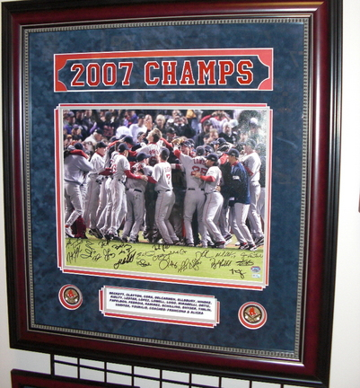 "Boston Red Sox 2007 World Series Celebration Team Signed 16"""" x 20"""" Photograph with 22 Signatures Mahogany Frame Measures 33x36 inches (Unframed)"" RDM-07RSTEAM16X20DF"
