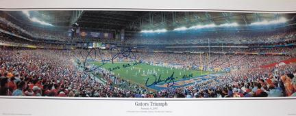 "Chris Leak AND Urban Meyer Dual Autographed Florida Gators National Championship 13"" x 39"" ""Action"""