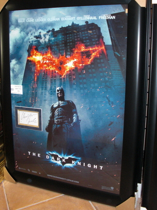 "Christian Bale ""Batman: The Dark Knight"" Autographed 3"" x 5"" card Custom Framed into the Movie Poster"