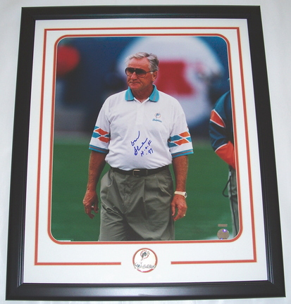 "Don Shula Autographed Miami Dolphins Custom Framed 16"""" x 20"""" Photograph with """"HOF 97"""" Inscription and Team Medallion"" RDM-DS16X20DF"