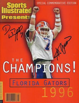 Both QB Danny Wuerffel and Coach Steve Spurrier of the NCAA Florida Gators have hand signed this Commemorative Sports Illustrated (Full Magazine-not just the cover) with Blue sharpie pens. This Commemorative Sports Illustrated came out in 1996 and was available only in Florida, for a limited time, which makes it even more special that it's signed by both champions and Heisman Trophy Winners! This item comes with a Real Deal Memorabilia Certificate of Authenticity (COA), and a matching Authenticity Sticker on the inside cover. Get the REAL DEAL!