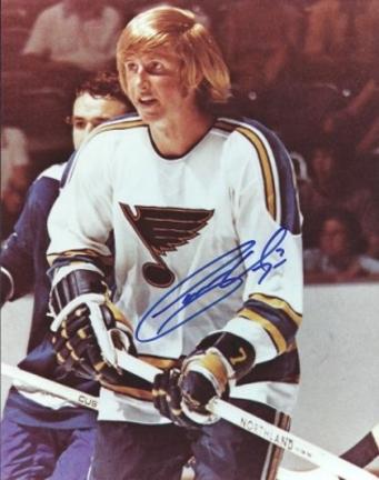 """Garry Unger Autographed St. Louis Blues 8"""" x 10"""" Photograph (Unframed)"""