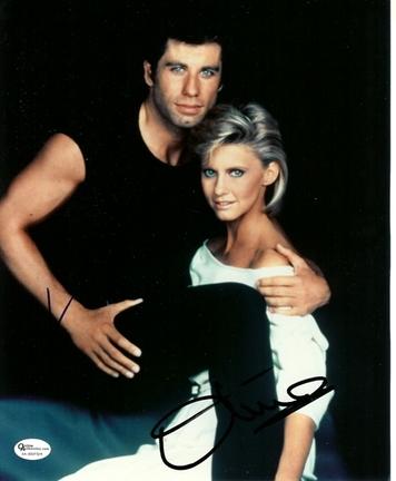 "John Travolta and Olivia Newton John Autographed ""Grease"" 8"" x 10"" Photograph (Unframed)"