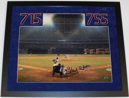 "Hank Aaron Autographed Atlanta Braves 16"" x 20"" Photograph Home Run #715 CUSTOM FRAMED"