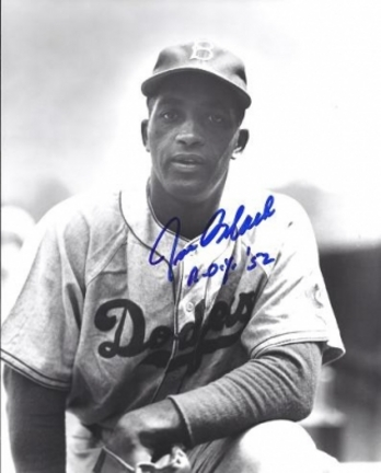 "Joe Black Autographed Brooklyn Dodgers 8"" x 10"" Photograph (Deceased) with ROY 52 inscription (Unframed)"