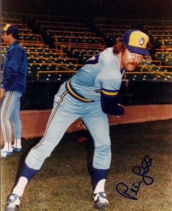 "Pete Ladd ""Blue Jersey"" Autographed Milwaukee Brewers 8"" x 10"" Photograph (Unframed)"
