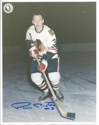 """Pierre Pilote Autographed Chicago Blackhawks 8"""" x 10"""" Photograph Hall of Famer (Unframed)"""