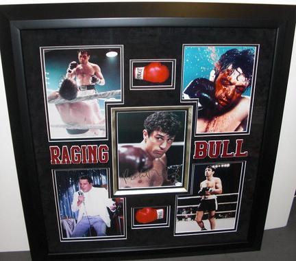 "Robert DeNiro Autographed ""Raging Bull"" 8"" x 10"" Photograph Deluxe Custom Framing with mini gloves ("