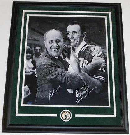 "Red Auerbach and Bob Cousy Dual Autographed B+W 16"" x 20"" Boston Celtics Custom Framed Photograph with team me"