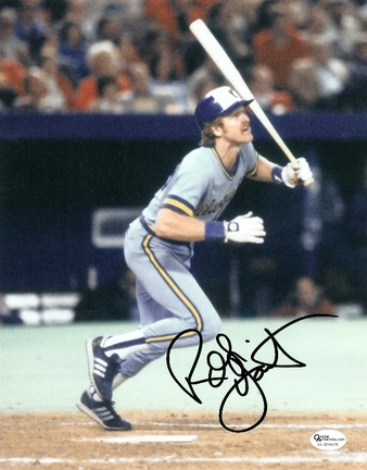 "Robin Yount ""With Bat"" Autographed Milwaukee Brewers 8"" x 10"" Photograph (Unframed)"