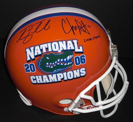 """Tim Tebow and Chris Leak Autographed Florida Gators 2006 National Championship Replica Full Size Helmet with """"2006"""