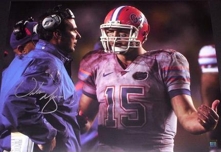 "Urban Meyer Autographed Florida Gators 16"" x 20"" Photograph vs FSU with Tim Tebow (Unframed)"