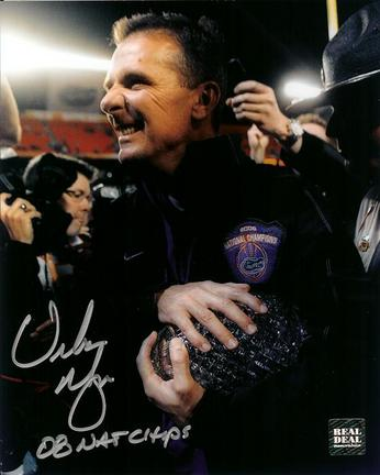 """Urban Meyer Autographed Florida Gators 2008 National Championship 8"""" x 10"""" """"Trophy"""" Photograph with"""
