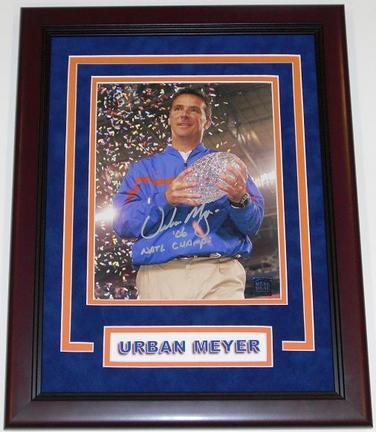 "Urban Meyer Autographed Florida Gators 8"""" x 10"""" """"Trophy"""" Photograph with """"06 NATL CHAMPS"""" inscription CUSTOM Mahogany FRAME (Unframed)"" RDM-UM8X10TROPHYSILVERMF"