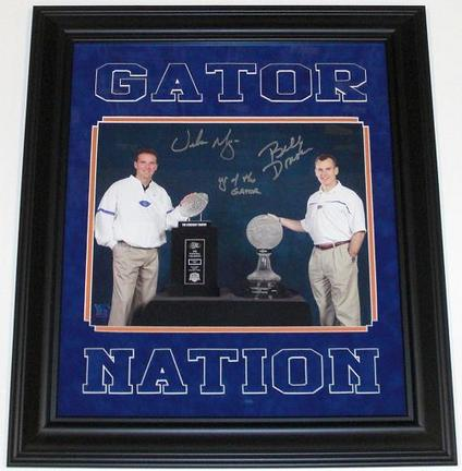 "Urban Meyer & Billy Donovan Signed Florida Gators 11"" x 14"" Photograph with ""YR OF THE GATOR"" In"